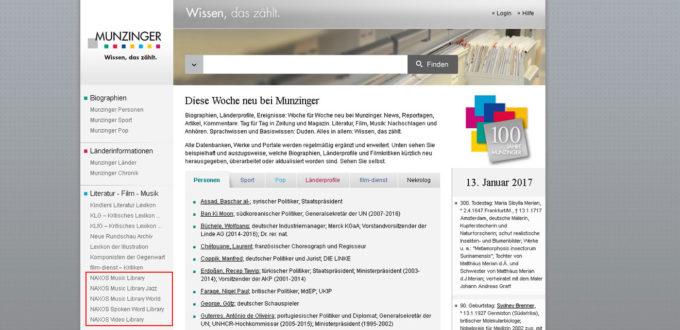 Munzinger Webseite